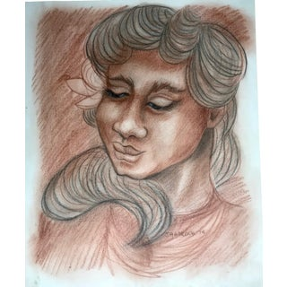 Vintage Original Drawing of a Hawaiian Island Woman Signed Hancock For Sale