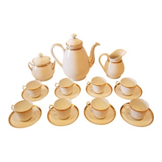 Gold and White Porcelain Coffee Set For Sale