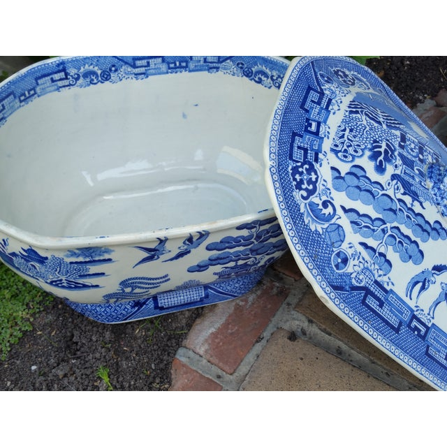Antique English Victorian Blue & White Soup Tureen - Image 5 of 6