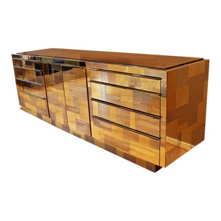 1970s Mid-Century Modern Paul Evans Brass Chrome Rosewood Cityscape Dresser Credenza For Sale