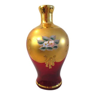 Mid-Century Murano 22k Ruby Red Glass Vase For Sale