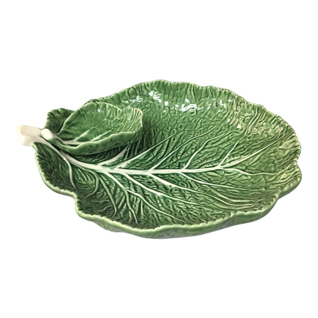 "Mid-Century Portuguese Green ""Cabbage Leaf"" Chip & Dip or Crudité Platter For Sale"