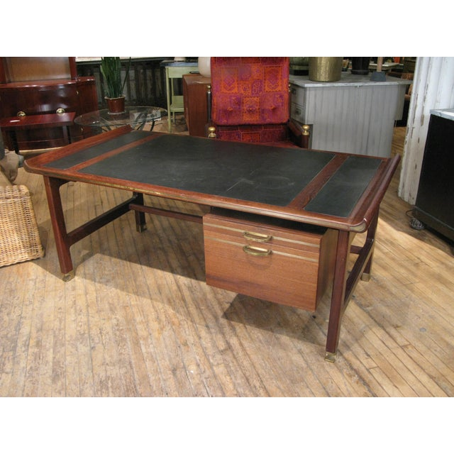 Metal Executive Desk in Wenge & Brass by Kofod Larsen For Sale - Image 7 of 12