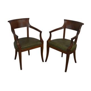 John Stuart Biedermeier Style Vintage Pair Walnut Armchairs For Sale
