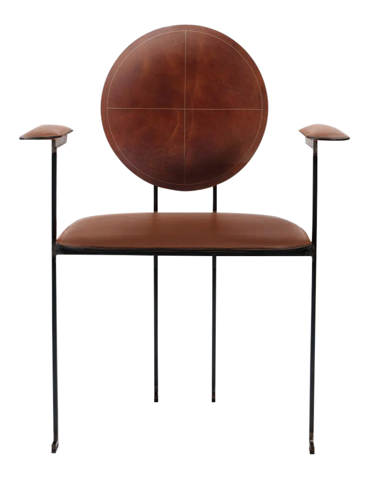 Italian Style Cognac Leather Side Chair