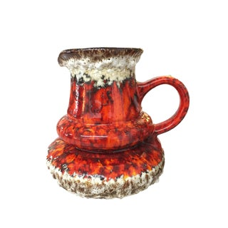 Jopeko West German Pottery Red Fat Lava Vase With Handle