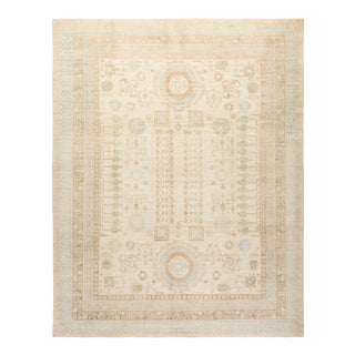 """Khotan, One-Of-A-Kind Hand-Knotted Area Rug - Ivory, 9' 5"""" X 12' 1"""" For Sale"""