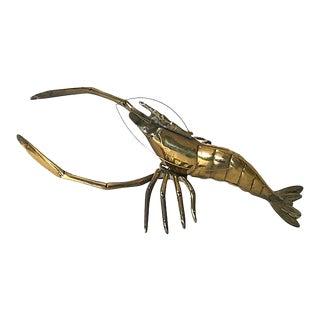 1970s Vintage Solid Brass Lobster For Sale