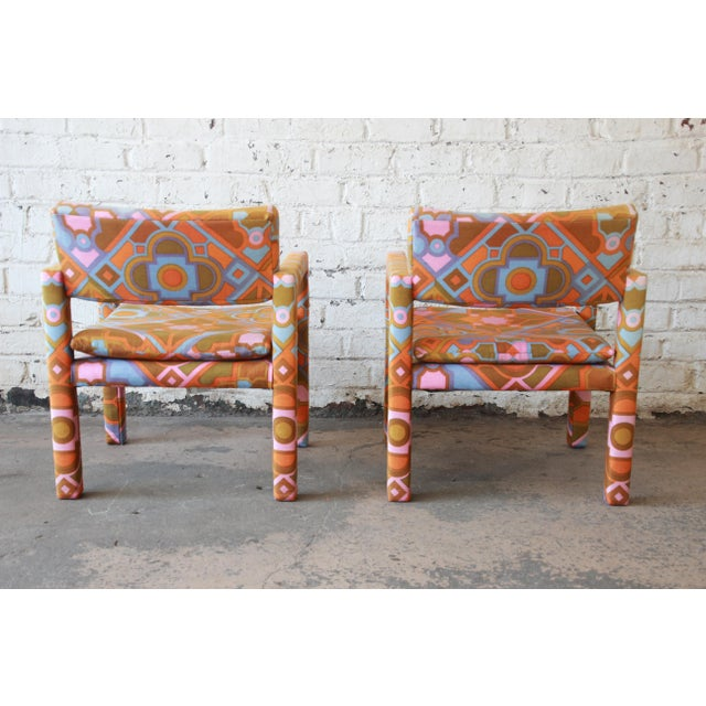 Textile Milo Baughman for Thayer Coggin Parsons Style Club Chairs in Outstanding Larsen Fabric For Sale - Image 7 of 13