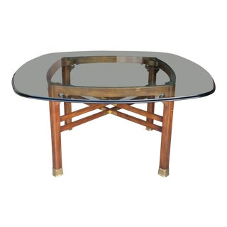 Vintage Henredon Ming Style Glass Top Dining Table