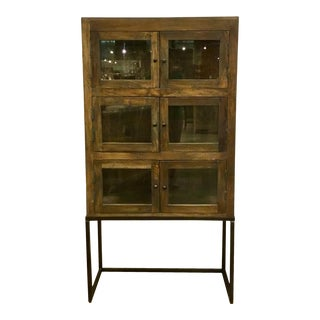 Industrial Modern Wood and Glass Six Door Display Cabinet For Sale