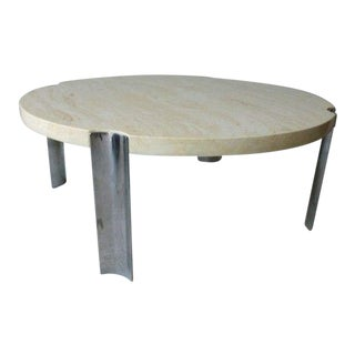 1970's Round Selig Faux Marble Flying Saucer Coffee Table with 4 Thick Chrome Legs For Sale