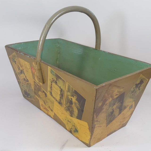 Antique Victorian Postcard Decoupaged Wooden Tote Basket For Sale - Image 4 of 13
