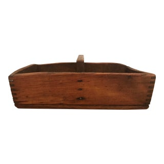 Antique Handmade Wood Tool Caddy Box For Sale
