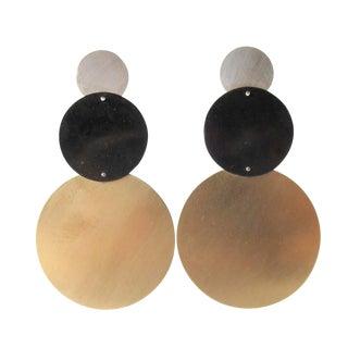 Heidi Abrahamson Sterling Silver Geometric Modernist Brass Earrings For Sale