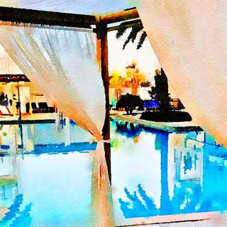 Cabana Pool View - Swimming Pool - Pool Architecture - Digital Watercolor Print From Original Color Photograph by Suzanne MacCrone Rogers For Sale