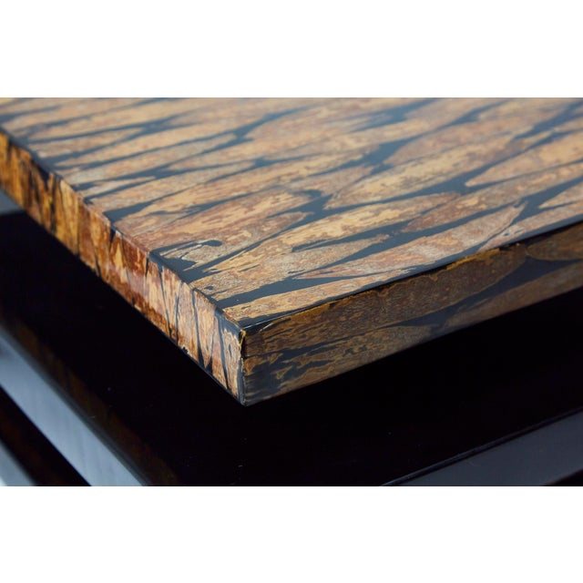 Brown 1990s Contemporary Stacked 2-Part Coffee Table For Sale - Image 8 of 11