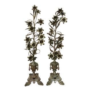 19th Century Bronze Altar Bouquets-a Pair For Sale