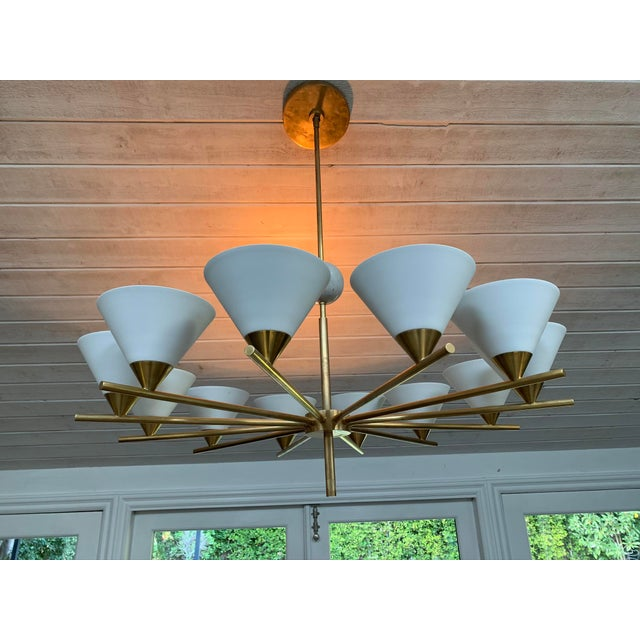 Contemporary Brass Chandelier - Cleo For Sale In Los Angeles - Image 6 of 7