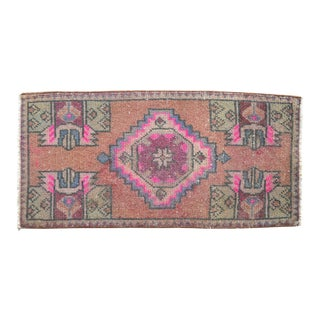 Distressed Low Pile Turkish Yastik Petite Rug Hand Knotted Faded Mat - 17'' X 35'' For Sale
