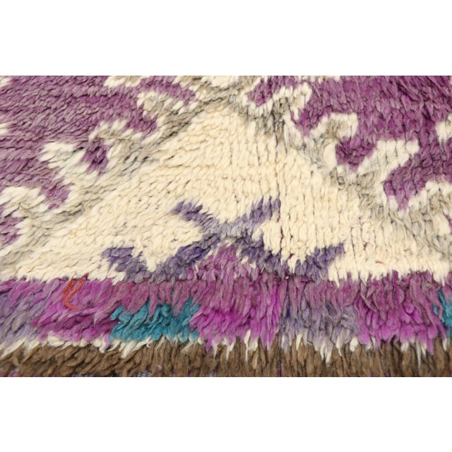 Berber Tribes of Morocco Vintage Berber Purple Moroccan Boujad Beni Mrirt Rug - 6'2 X 10'2 For Sale - Image 4 of 10