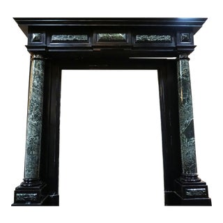 Louis XIV Verde Black Marble Mantel For Sale