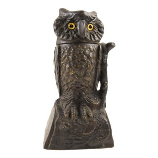 Cast Iron Owl Mechanical Bank Glass Eyes, Circa 1881 For Sale