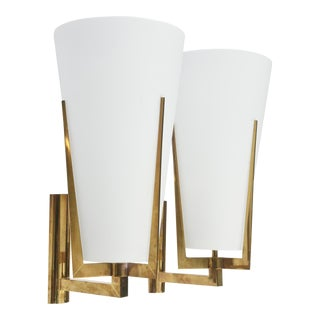 Set of Four Large Stilnovo Brass and Frosted Glass Wall Lights, Italy For Sale