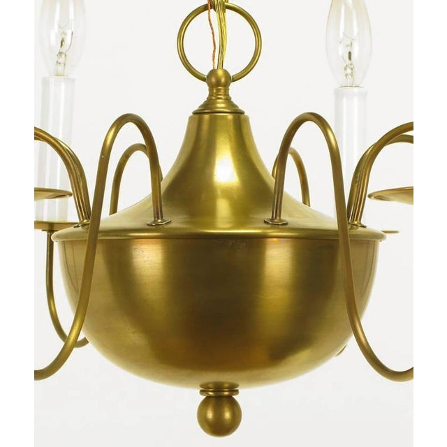 Fine Hand-Spun Brass Eight-Light Chandelier with Delicate Arms - Image 8 of 9