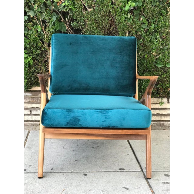 Sculpting Mid Century Z Chair in Peacock Jade For Sale - Image 7 of 13