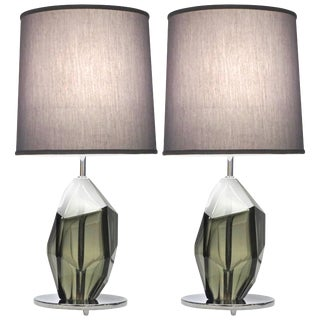 Donà Contemporary Italian Faceted Solid Rock Smoked Murano Glass Lamps - a Pair For Sale