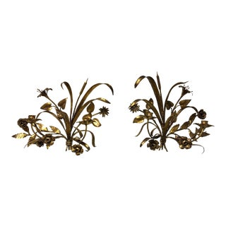 Vintage Gold Gilded Metal Floral Candle Holder Wall Sconces - a Pair