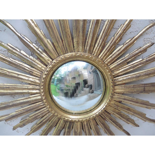 Mid-Century Modern French Convex Sunburst Gilded Wood Mirror For Sale - Image 3 of 6