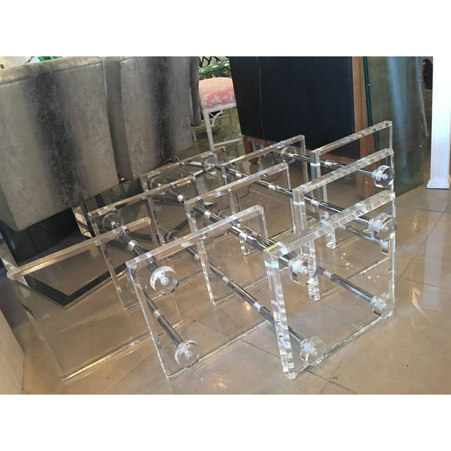 Hollywood Regency Lucite and Chrome Coffee Cocktail Table - Image 10 of 12