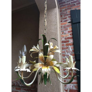 Antique French Tole Flower Polychrome Metal Chandelier Preview