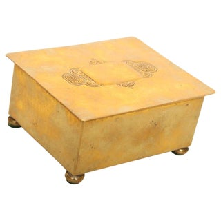 Wmf Art Deco German Hand Hammered Brass/ Wood Box For Sale