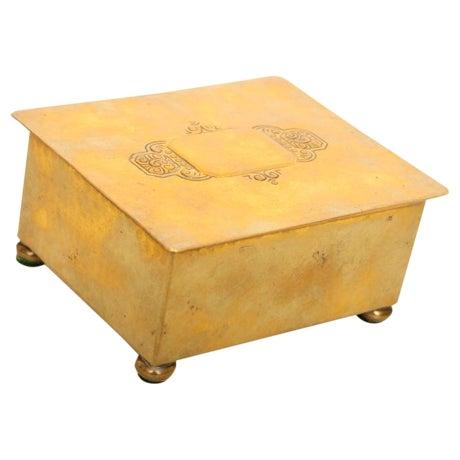 Wmf Art Deco German Hand Hammered Brass/ Wood Box For Sale