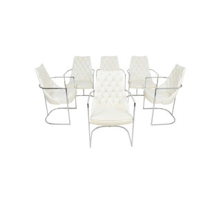 Milo Baughman White Tufted Vinyl & Chrome Dining Chairs - Set of 6