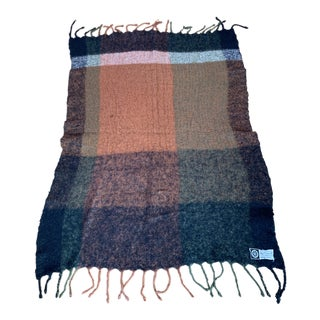 Lena Rewell Mohair Blanket in Green, Orange, Brown For Sale