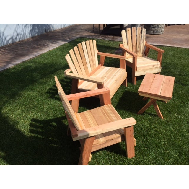 Natural Redwood Patio Set - Set of 4 - Image 7 of 11