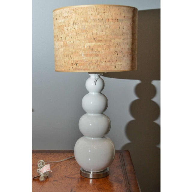 Stacked White Glass Gourd Lamps - A Pair - Image 2 of 7