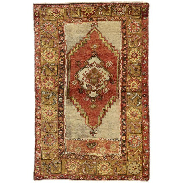 1950s 1950s Vintage Turkish Oushak Accent Rug - 3′7″ × 5′6″ For Sale - Image 5 of 5