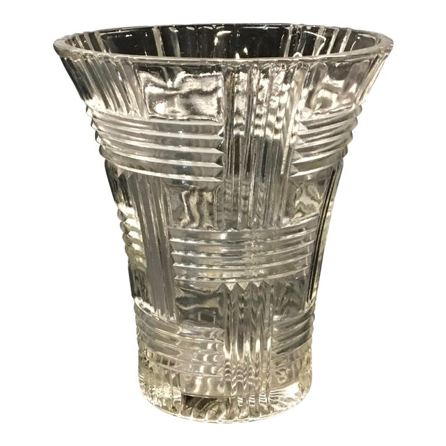 1930s Anchor Hocking Crystal Glass Prismatic Criss Cross Vase For Sale