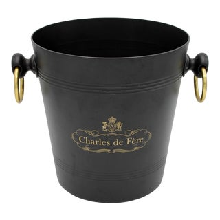 French Charles De Fère Black and Gold Champagne Ice Bucket For Sale