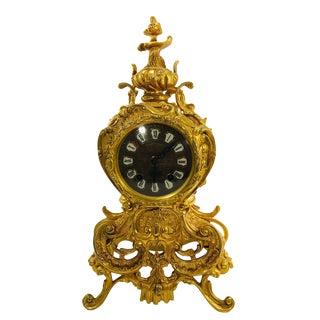 Antique French Rococo Gilt Bronze Mantel Clock For Sale