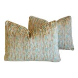 """Image of Clarence House Arles Velvet Fabric Feather/Down Pillows 22"""" X 16"""" - Pair For Sale"""