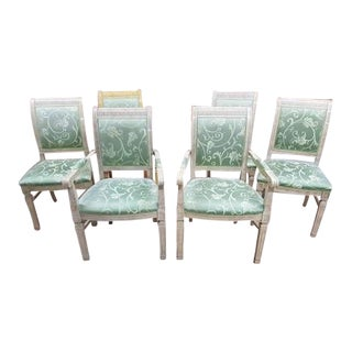 Set of 6 French Louis XVI Regency Style Sage Green Square Back Glazed Wood Dining Chairs For Sale