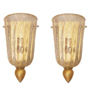 Pair of Classic Revival Murano Glass Sconces, Mid Century Modern, Barovier Style For Sale
