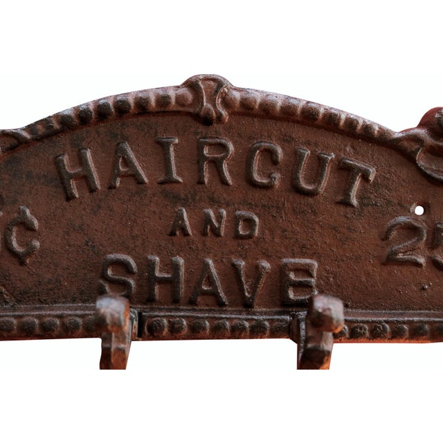 Rustic Cast Iron 'Haircut and Shave' Wall Plaque With Hooks For Sale - Image 3 of 5