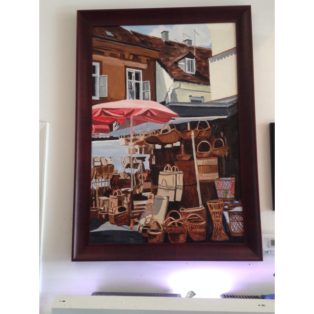 An acrylic on canvas 30″ x 46″ original painting. Measures around 36″ x 50″ with the frame. Really nice, dark, mahogany...